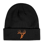 SKULLZ Black Toboggan w/Orange logo 100% Knit Acrylic Beanie