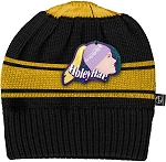 HoleyHat Ponytail Knit Hat with a Hole in it! Black with yellow stripe