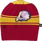 HoleyHat Ponytail Knit Hat with a Hole in it! Red with yellow stripe.