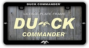 Duck Commander License Plate Frame Silver logo